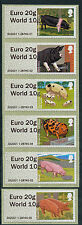 """WINCOR TYPE II PIGS DUAL VALUE """"EURO 20g/WORLD10g"""" SET OF 6 DESIGNS POST & GO"""