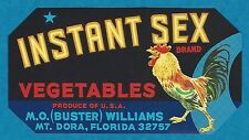 "RARE OLD ORIGINAL ""INSTANT SEX BRAND"" PROLIFIC ROOSTER BOX LABEL MT DORA FLORIDA"