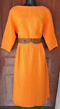 Vtg 60s Orange Boucle Cotton MOD Pencil Wiggle Party Cocktail Jacket-O Dress L
