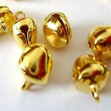 50 PEZZI 8mm oro placcato metallo JINGLE BELLS-A0053