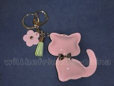 Pink Leather Kitty Cat Figure Keychain KeyRing Bag Dangle Backpack Charm Tassels