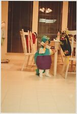 Vintage 80s PHOTO Toddler Boy In Dinosaur Costume Talking On Big Telephone Phone
