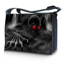 "17.3"" 17"" Laptop Notebook Padded Compartment Messenger Bag Zhombie Skull N20"
