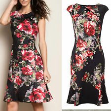 EXQUISITE PHASE EIGHT WAVERLY FLORAL MULTICOLOUR COCKTAIL PARTY FLARE DRESS 8 UK