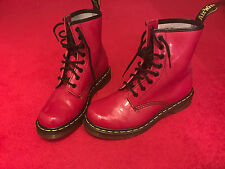 Red patent dr marten boots taille 5 (38)