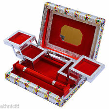 Traditional Silver Hue Colourful Meenakari Decorative Jewellery Box Gift for Her