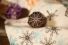 UNIQUE HAND CARVED ICE FLAKE DESIGN WOODEN TEXTILE PAPER STAMP  - 1 PC