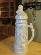 One of a kind beer stein ceramic blue with lion lid 17 inches tall Holland