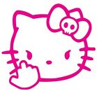 HELLO KITTY MIDDLE FINGER(8 IN) STICKER VINYL DECAL VEHICLE CAR WALL LAPTOP