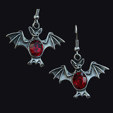 ENGLISH PEWTER GOTHIC BAT EARRINGS WITH RED SYNTHETIC STONE. HALLOWEEN. HORROR.