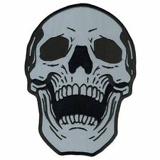 "SKULL Reflective 7"" x 10"" BACK PATCH Motorcycle Embroidered Biker MC LRG-0054"