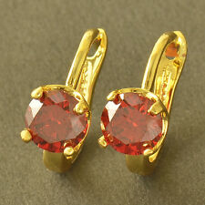 Korean Fashion Round Red Ruby Yellow Gold Filled Womens lucky hoop Earrings lot