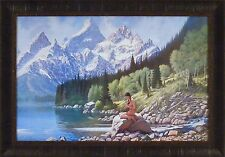 SOUND OF MUSIC by Roy Kerswill 24x34 FRAMED PRINT Nude Indian Maiden Flute Lake