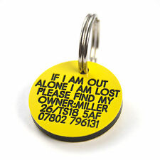 Pet Dog Cat ID Collar Tags - Deeply engraved FREE, 27mm Plastic Disc. 7 COLOURS
