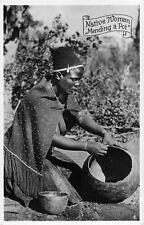 RPPC NATIVE WOMAN MENDING A POT CAPE TOWN SOUTH AFRICA REAL PHOTO POSTCARD