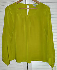 Austin Reed Lime Green Yellow Silk Blouse Top Shirt size 16 NWT Long sleeve