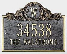 Whitehall Acanthus Monogram Address Plaque Sign 17 Color Choices Rust Free 2 Mts