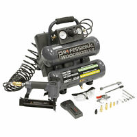 Professional Woodworker 2-Gallon Twin Stack Air Compressor w/ Brad Nailer & Kit