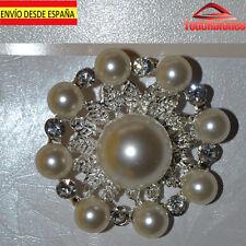 bisuteria Broche aplique piedra AB corona perlas de 4cm strass fina carnaval