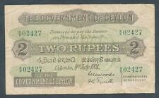 Ceylon: 9-7-1931 2 Rupees Green Serial Number. SCARCE EARLY DATE Pick 21b, Fine