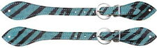 Turquoise Tough 1 Ladies Hair on Zebra Stripe Spur Strap Horse Tack Equine