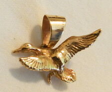14k Gold Detailed 3D Duck in Flight Goose Geese Hunting Pendant