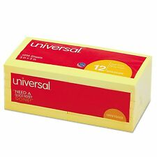 "Universal Standard Self-Stick Notes, 3"" x 3"", Yellow, 100-Sheet Pads, 12 Pads"