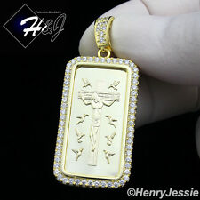 MEN 925 STERLING SILVER LAB DIAMOND ICED JESUS CROSS DOG TAG GOLD PENDANT*GP126