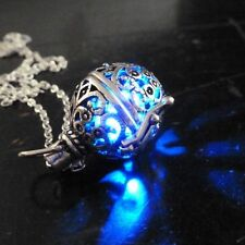 Steampunk Fire Necklace Blue Pendant Charm Locket Jewelry Fantasy Antique Silver