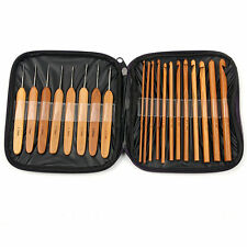 20 x Bamboo Wooden Knitting Needle Crochet Hook Set DIY with Case 1 - 10mm