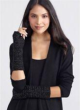 EILEEN FISHER NEW Black Yak Wool  Metallic Glovelettes Arm Warmers O/S