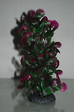 Aquarium Purple And Green Plastic Plant with Weighted Base 7 x 7 x 24 cms