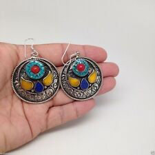 Handmade Nepal Tribal Coral, Lapis, Amber, Turquoise Inlay Round shape Earrings