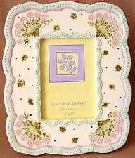 "Jennifer Moore Ceramic Picture Photo Frame Purple Flowers Green Leaves 5""x7"" EUC"