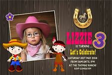 Personalised Birthday Invitations Cowboy & Indian x 5