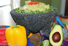 9 in LARGE GUACAMOLE MOLCAJETE MORTAR PESTLE LAVA STONE