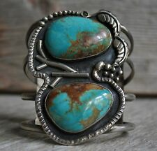 Huge Old Pawn Navajo Native American Turquoise Sterling Silver Cuff Bracelet
