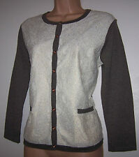 NWT LAURA ASHLEY VANILA /MINK FINE COTTON KNIT & LACE OCCASIONAL CARDIGAN 14 UK