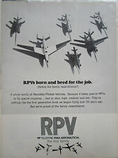 9/1972 PUB TELEDYNE RYAN AERONAUTICAL RPV REMOTELY PILOTED VEHICLE ORIGINAL AD