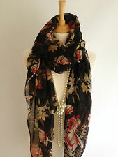 Classy Black Red Beige Cream Floral Pashmina Scarf Wrap Scarve Oversize Gift