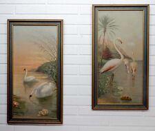 2 Vintage ART DECO Nouveau FLORIDA FLAMINGO & SWAN Framed LITHOGRAPH PRINTS