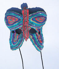 Glow-In-The-Dark Butterfly Mask Blue Purple Pink One-of-a-kind - Handmade