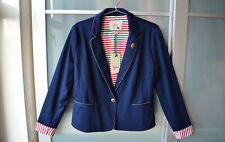 YUMI nautical style navy blue & red stripe blazer jacket ~ UK 14 ~ NWT