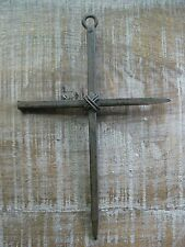 Rustic Rust Cast Iron Metal Nail Cross Wire Wall Decor, Home Accent