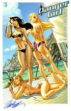 J SCOTT CAMPBELL DANGER GIRL ON A BOAT SWIMSUIT ART PRINT / SIGNED