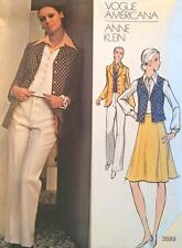 Vtg 1970s Vogue Americana 2689 Sewing Pattern Anne Klein Jacket Skirt Pants Vest