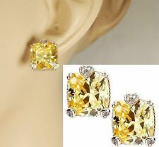 $525 Judith Ripka JR Canary Diamonds 18K Large Fontain Cushion Earrings NEW GIFT