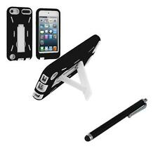 Black White Hybrid Rugged Hard Case w/ Stand for iPod Touch 5th Gen 5G 5+Stylus