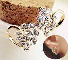 Vintage Women Lady Jewelry Elegant Crystal Rhinestone Heart Ear Stud Earrings EY