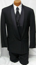 New Black Raffinati Double Breasted Tuxedo Jacket Big and Tall Wedding Prom 68R